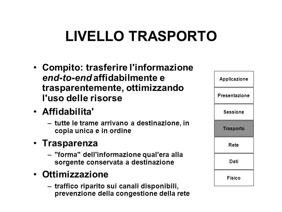 LIVELLO TRASPORTO Compito: trasferire l informazione end-to-end affidabilmente e trasparentemente, ottimizzando l uso delle risorse.
