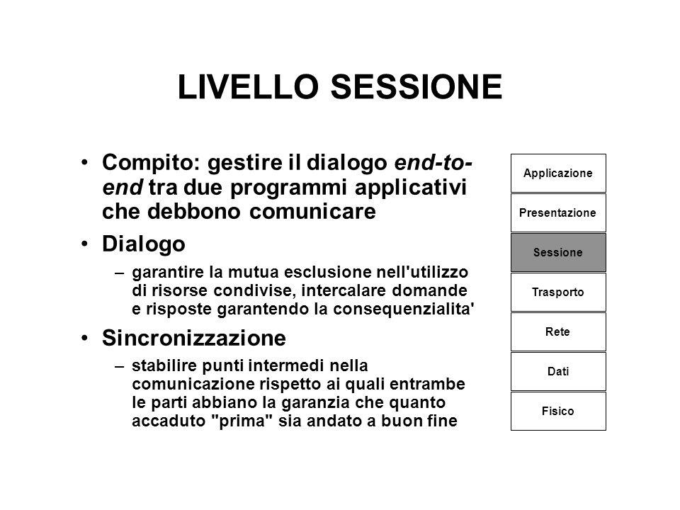 LIVELLO SESSIONE Compito: gestire il dialogo end-to-end tra due programmi applicativi che debbono comunicare.