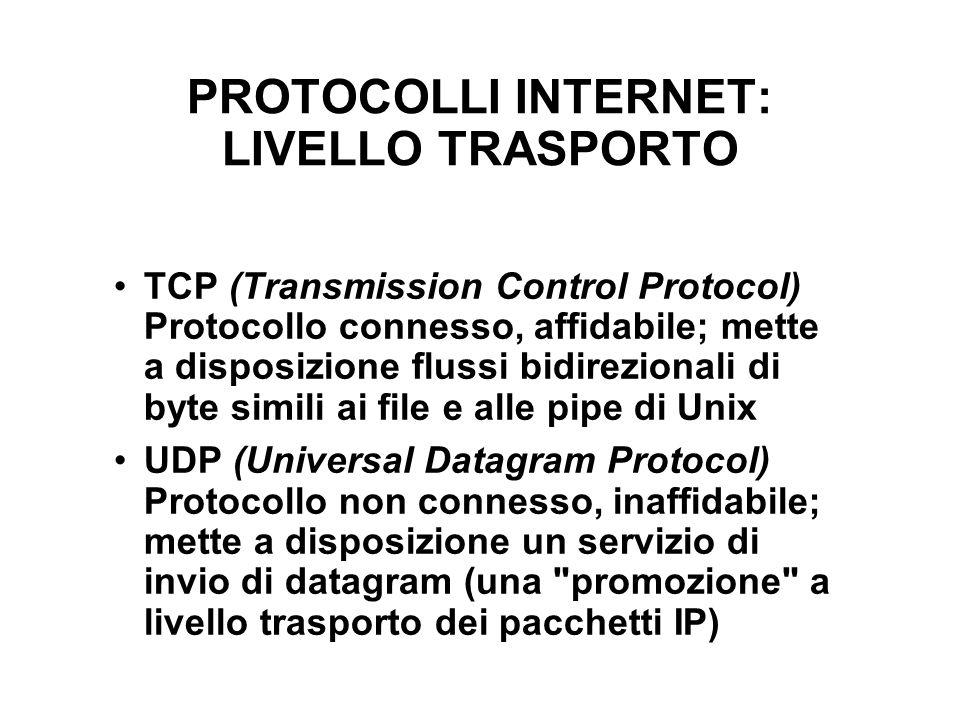 PROTOCOLLI INTERNET: LIVELLO TRASPORTO