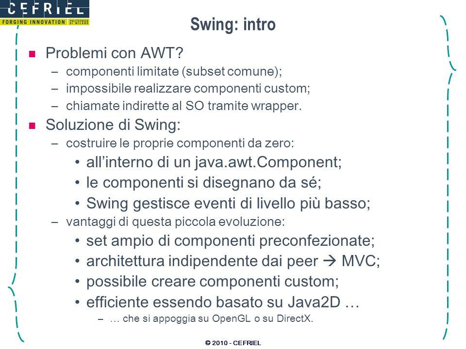 Swing: intro Problemi con AWT Soluzione di Swing: