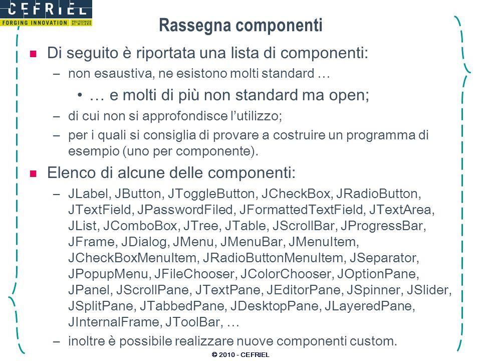Rassegna componenti Di seguito è riportata una lista di componenti: