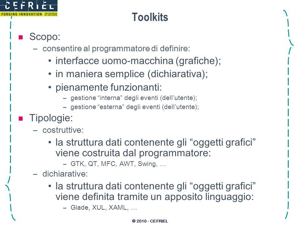 Toolkits Scopo: interfacce uomo-macchina (grafiche);