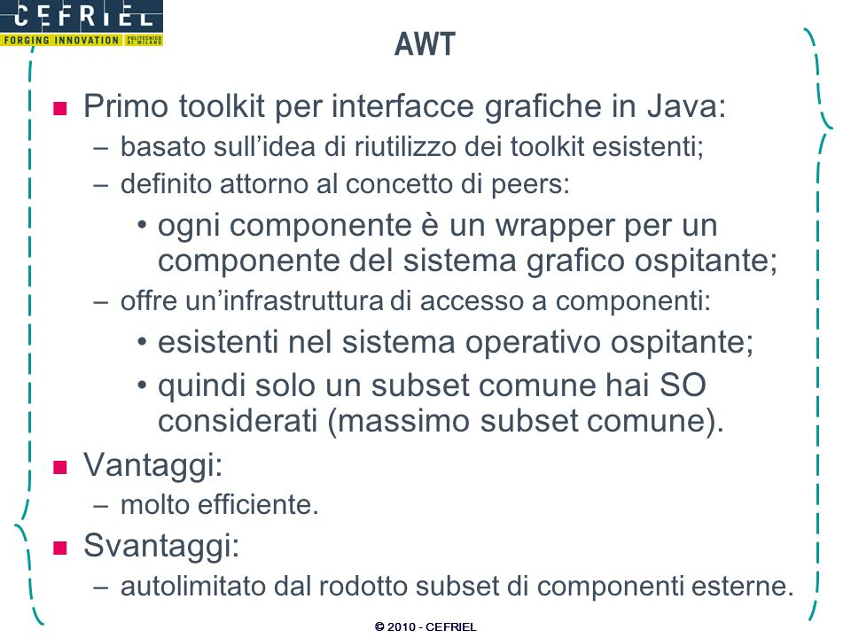 Primo toolkit per interfacce grafiche in Java: