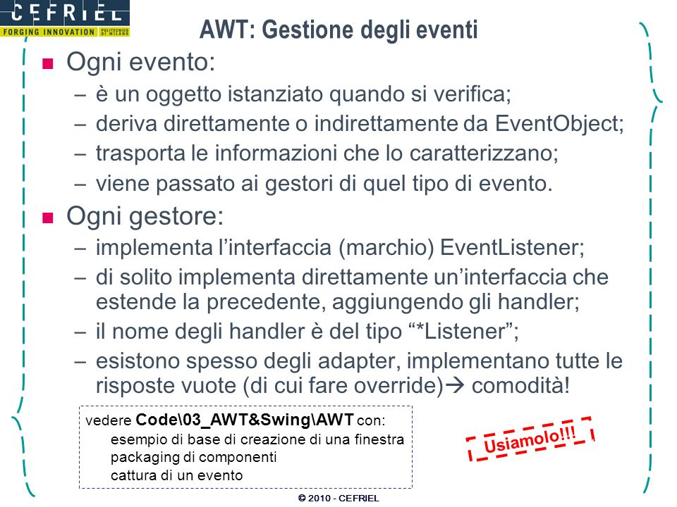 AWT: Gestione degli eventi