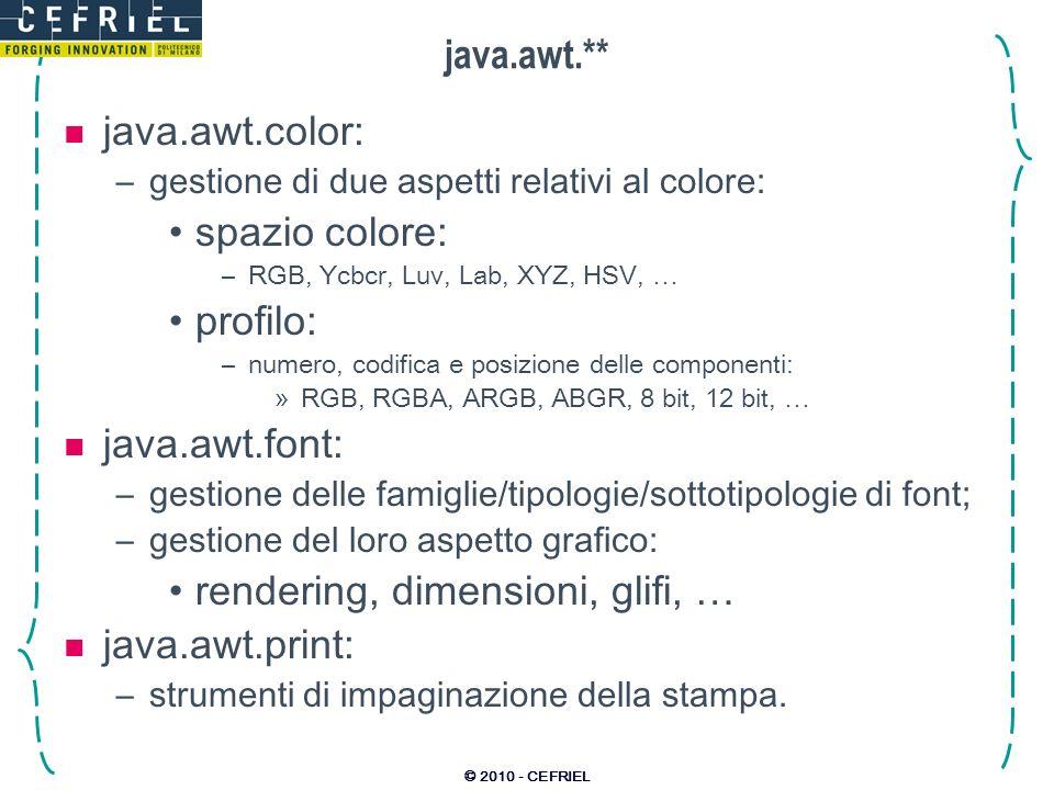 rendering, dimensioni, glifi, … java.awt.print: