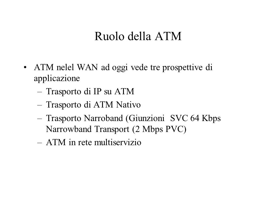 Ruolo della ATM ATM nelel WAN ad oggi vede tre prospettive di applicazione. Trasporto di IP su ATM.
