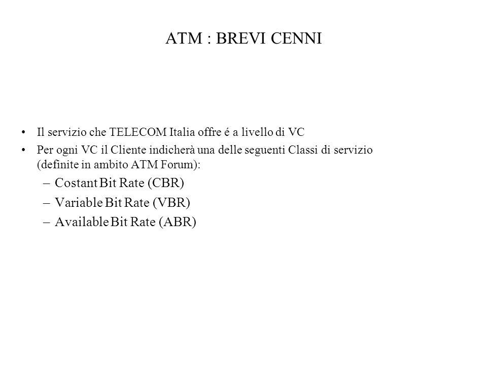 ATM : BREVI CENNI Costant Bit Rate (CBR) Variable Bit Rate (VBR)