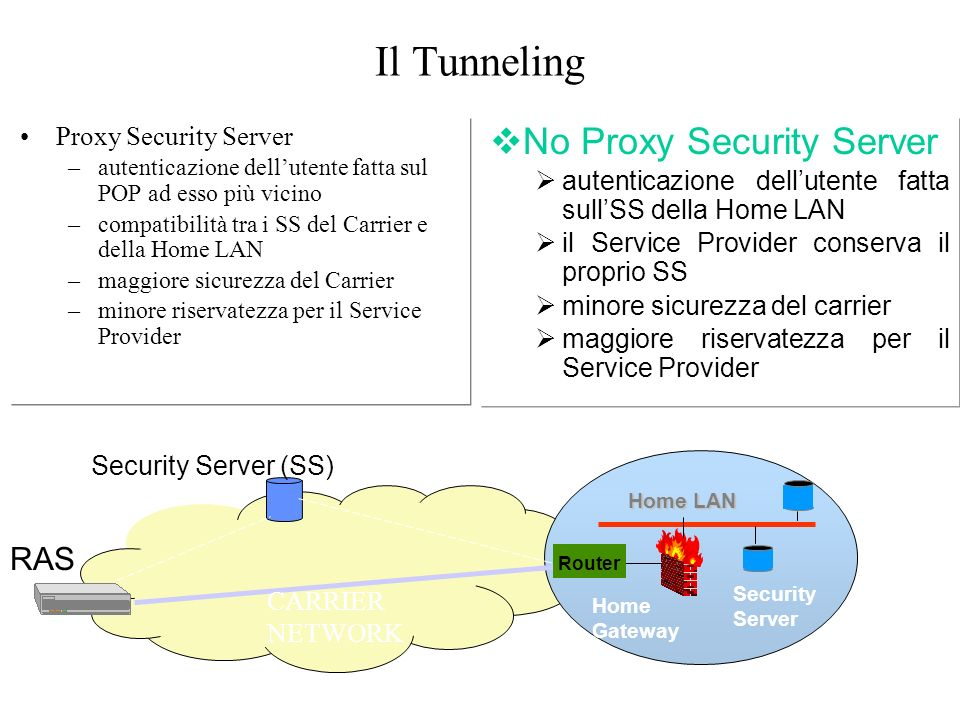 Il Tunneling No Proxy Security Server RAS Proxy Security Server