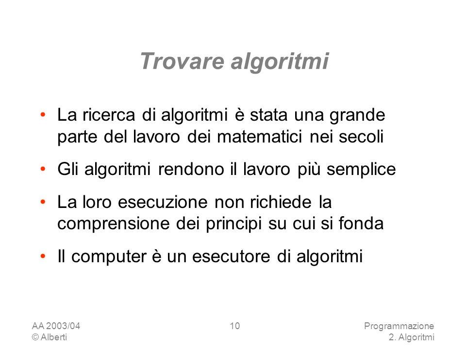 Trovare algoritmi La ricerca di algoritmi è stata una grande parte del lavoro dei matematici nei secoli.