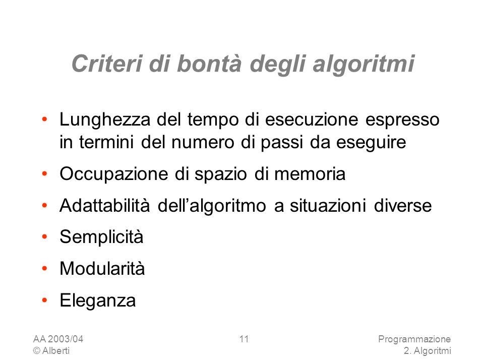 Criteri di bontà degli algoritmi