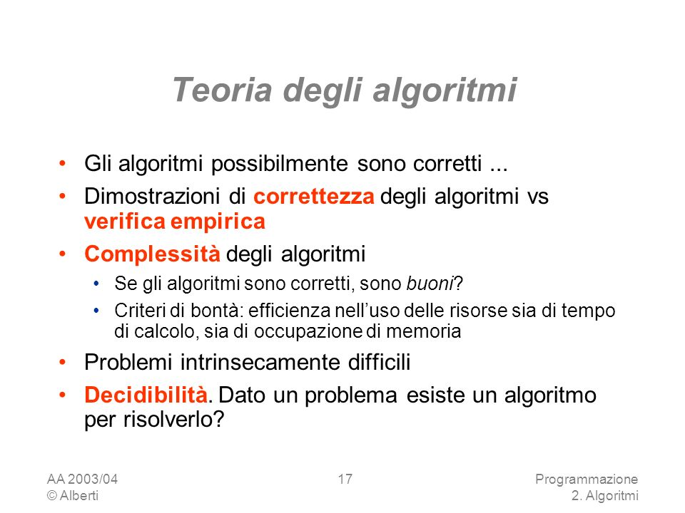 Teoria degli algoritmi