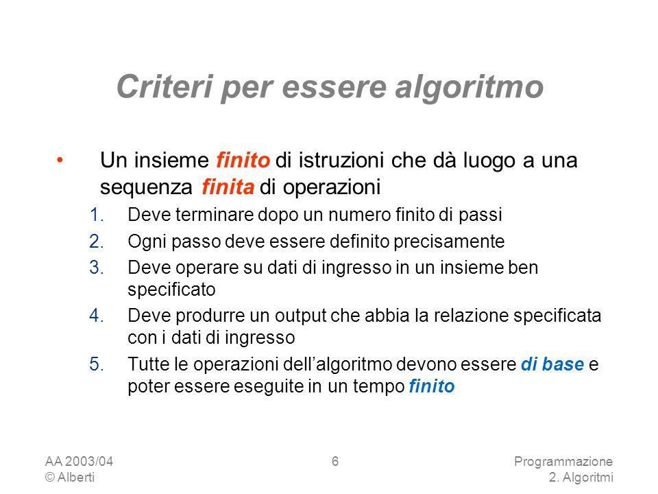 Criteri per essere algoritmo