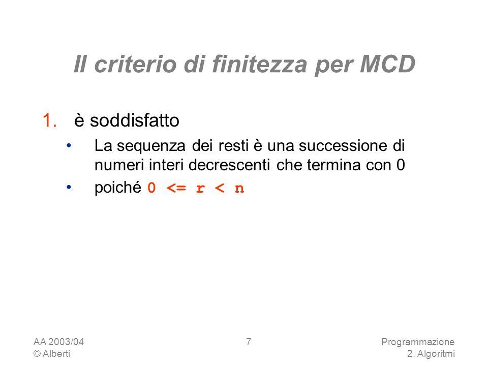 Il criterio di finitezza per MCD