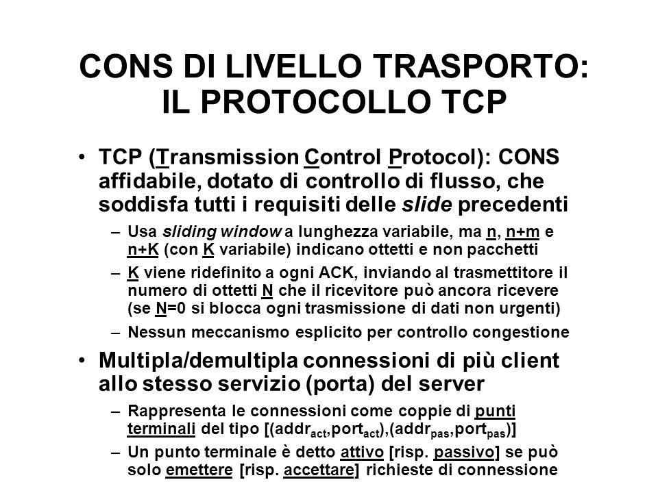 CONS DI LIVELLO TRASPORTO: IL PROTOCOLLO TCP