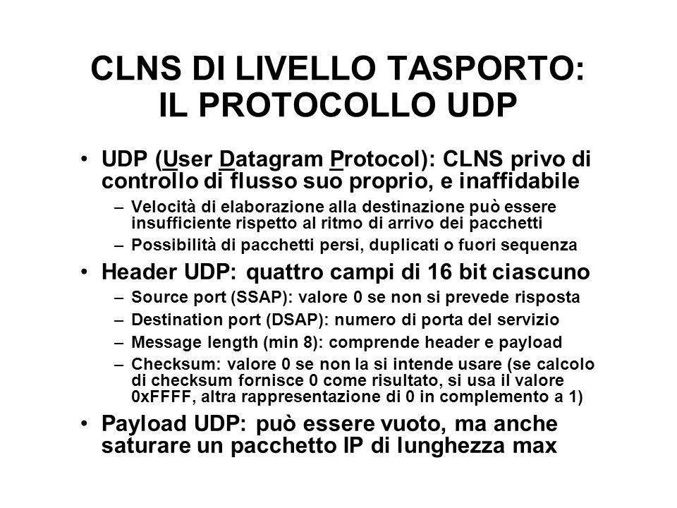 CLNS DI LIVELLO TASPORTO: IL PROTOCOLLO UDP
