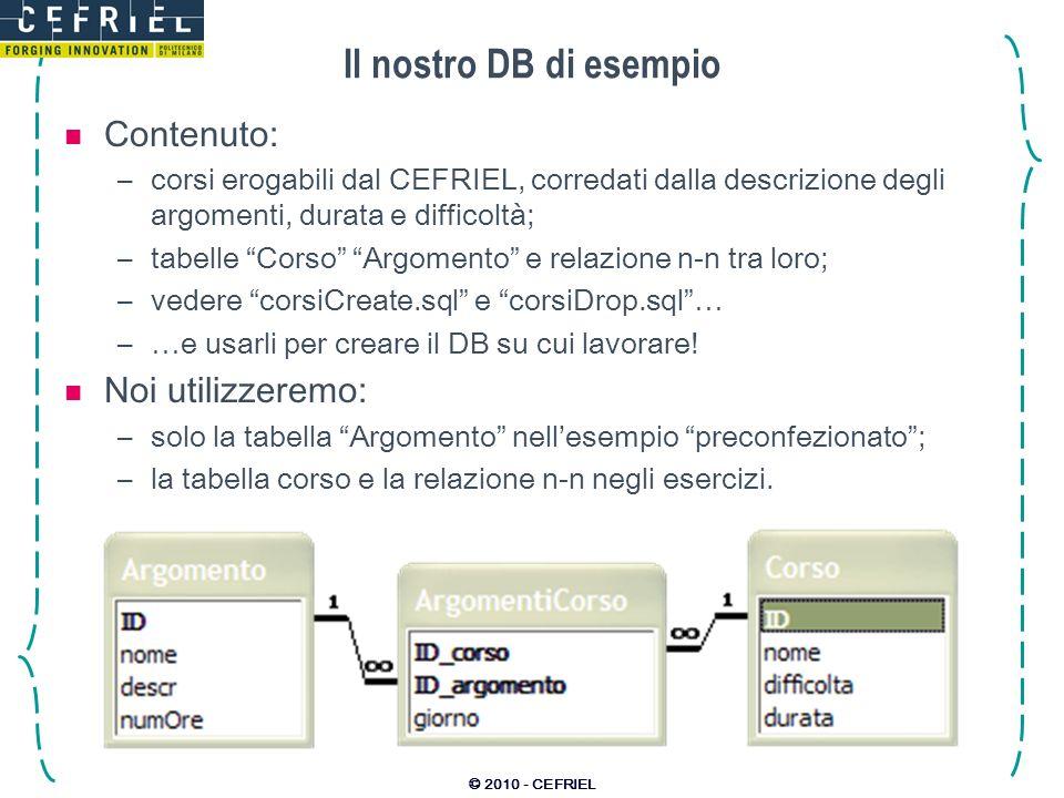 Il nostro DB di esempio Contenuto: Noi utilizzeremo: