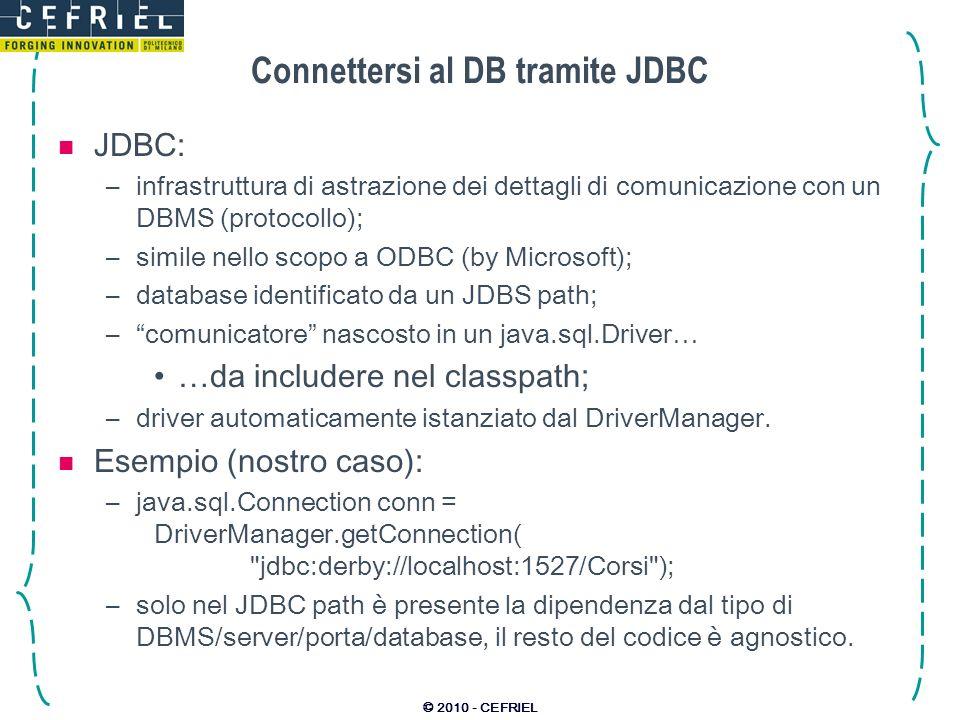 Connettersi al DB tramite JDBC