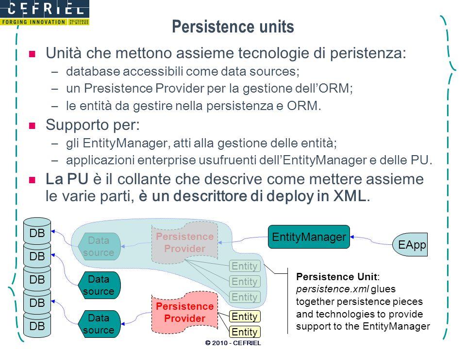 Persistence units Unità che mettono assieme tecnologie di peristenza: