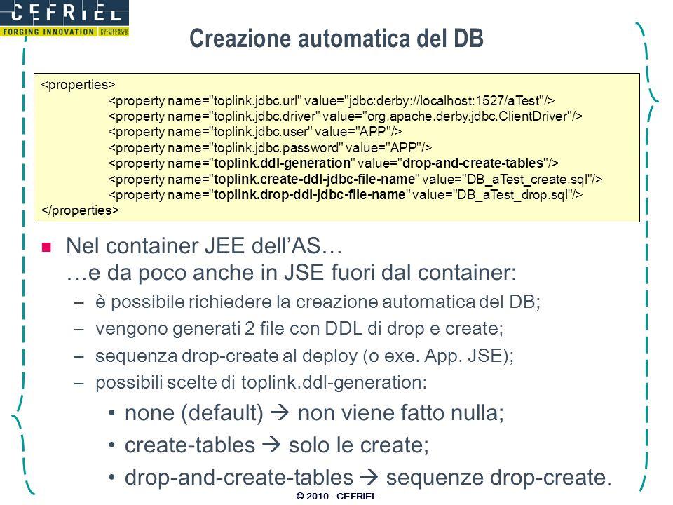 Creazione automatica del DB