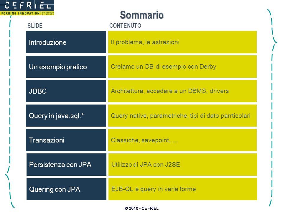 Sommario Introduzione Un esempio pratico JDBC Query in java.sql.*