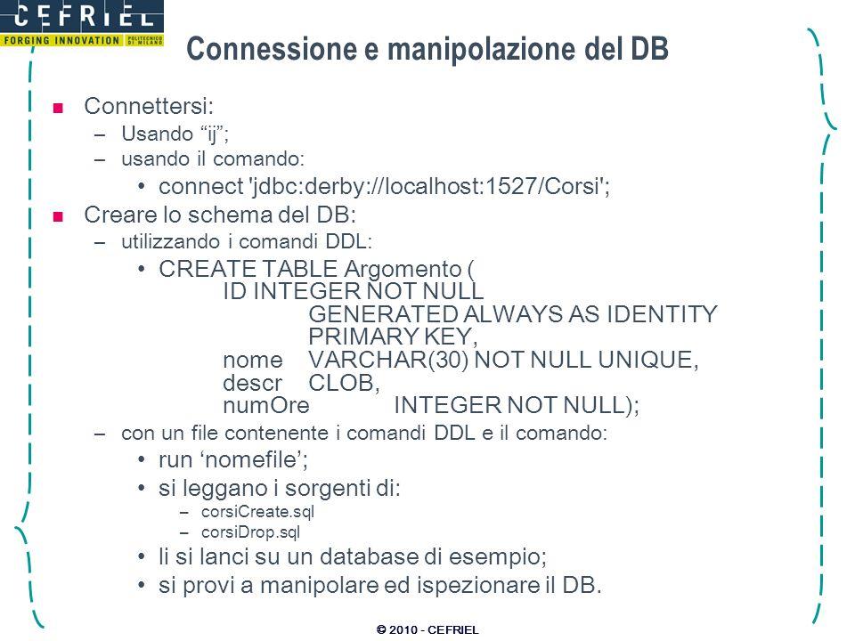 Connessione e manipolazione del DB