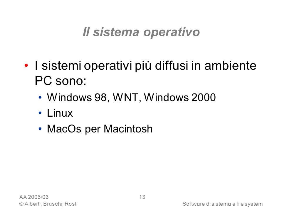 I sistemi operativi più diffusi in ambiente PC sono: