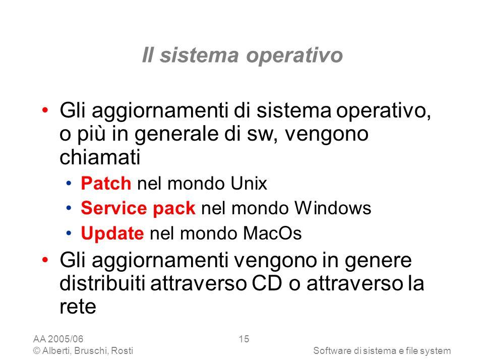Il sistema operativo Gli aggiornamenti di sistema operativo, o più in generale di sw, vengono chiamati.