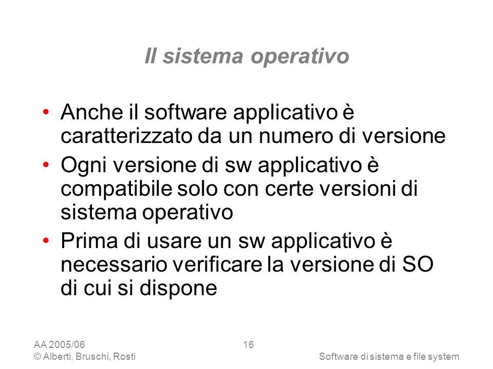 Il sistema operativo Anche il software applicativo è caratterizzato da un numero di versione.