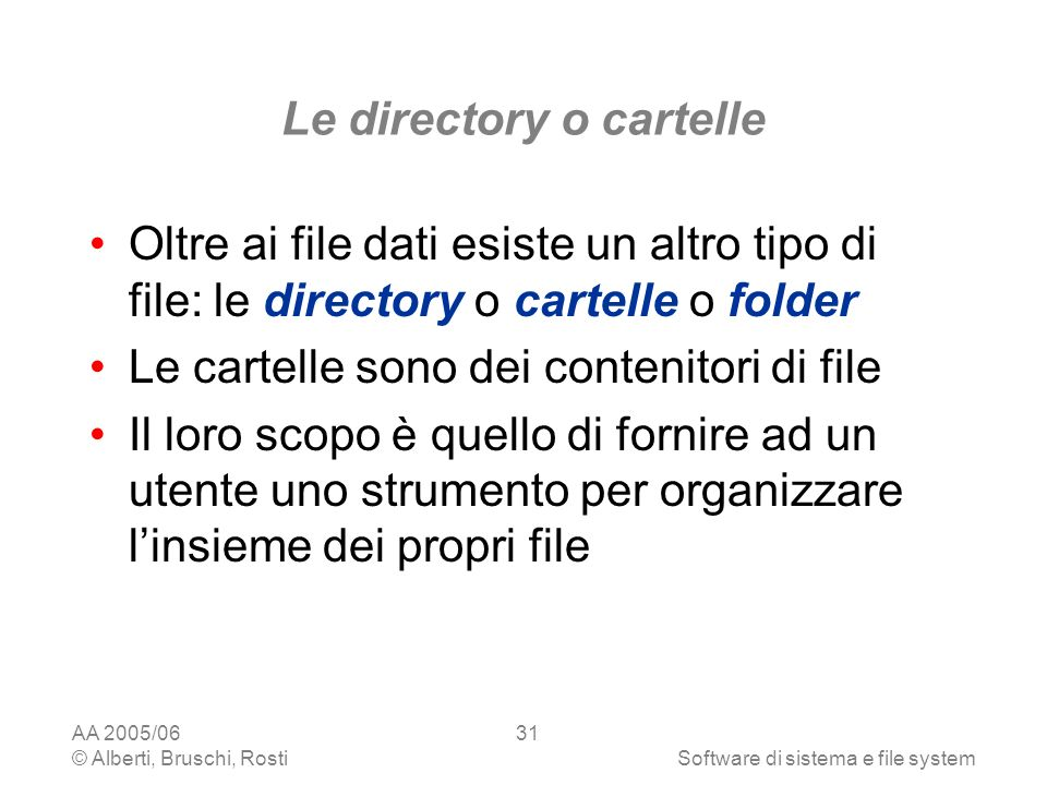 Le directory o cartelle