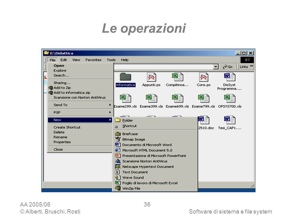 Le operazioni AA 2005/06 © Alberti, Bruschi, Rosti