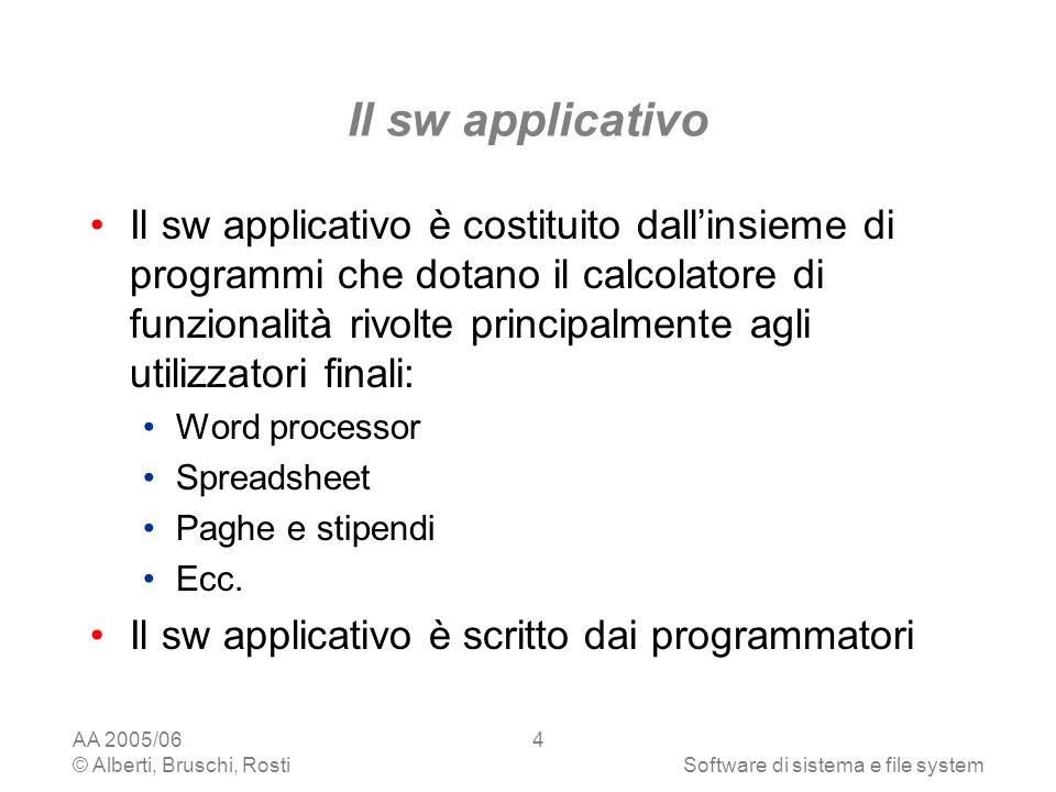 Il sw applicativo