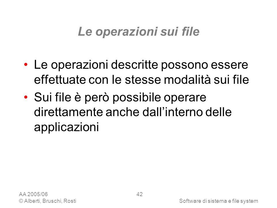 Le operazioni sui file Le operazioni descritte possono essere effettuate con le stesse modalità sui file.