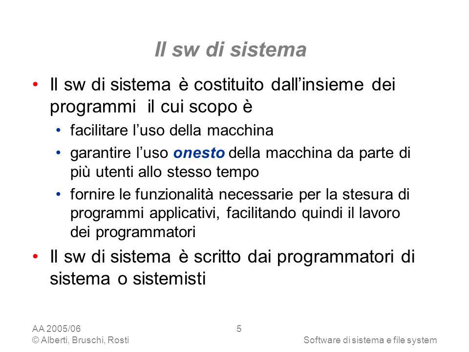 Il sw di sistema Il sw di sistema è costituito dall'insieme dei programmi il cui scopo è. facilitare l'uso della macchina.