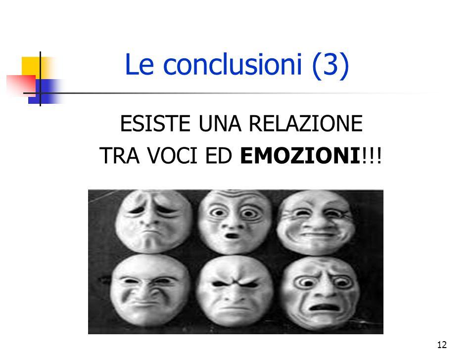 Le conclusioni (3) ESISTE UNA RELAZIONE TRA VOCI ED EMOZIONI!!!