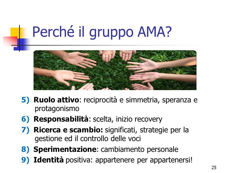 Perché il gruppo AMA 5) Ruolo attivo: reciprocità e simmetria, speranza e protagonismo. 6) Responsabilità: scelta, inizio recovery.
