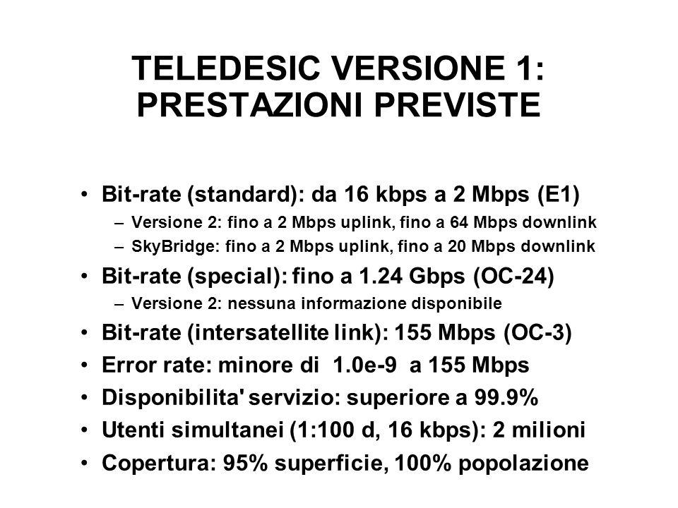 TELEDESIC VERSIONE 1: PRESTAZIONI PREVISTE