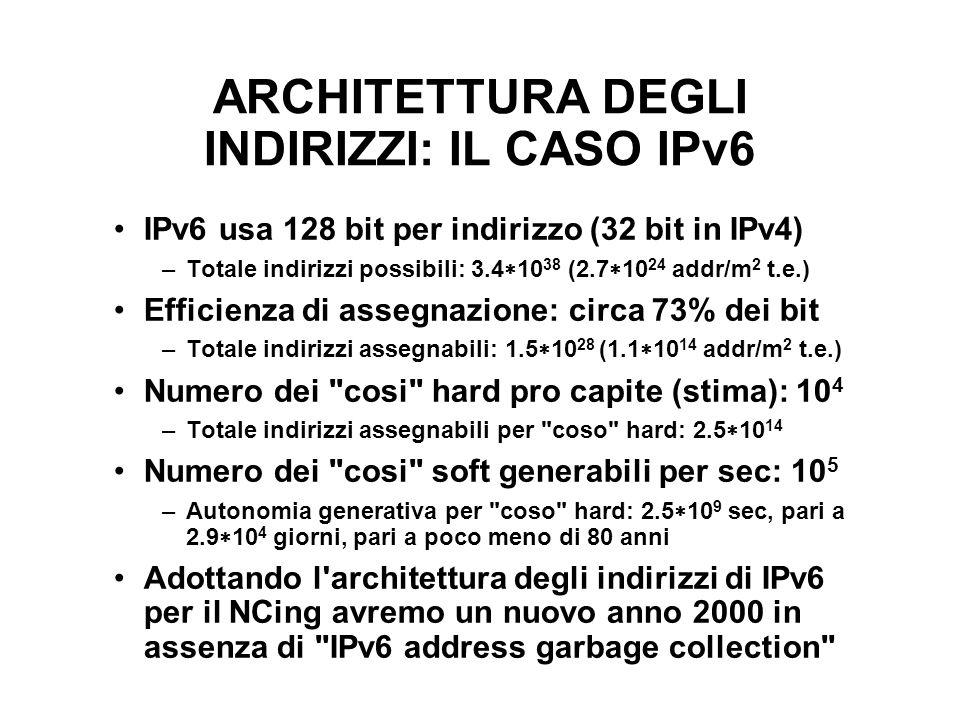ARCHITETTURA DEGLI INDIRIZZI: IL CASO IPv6