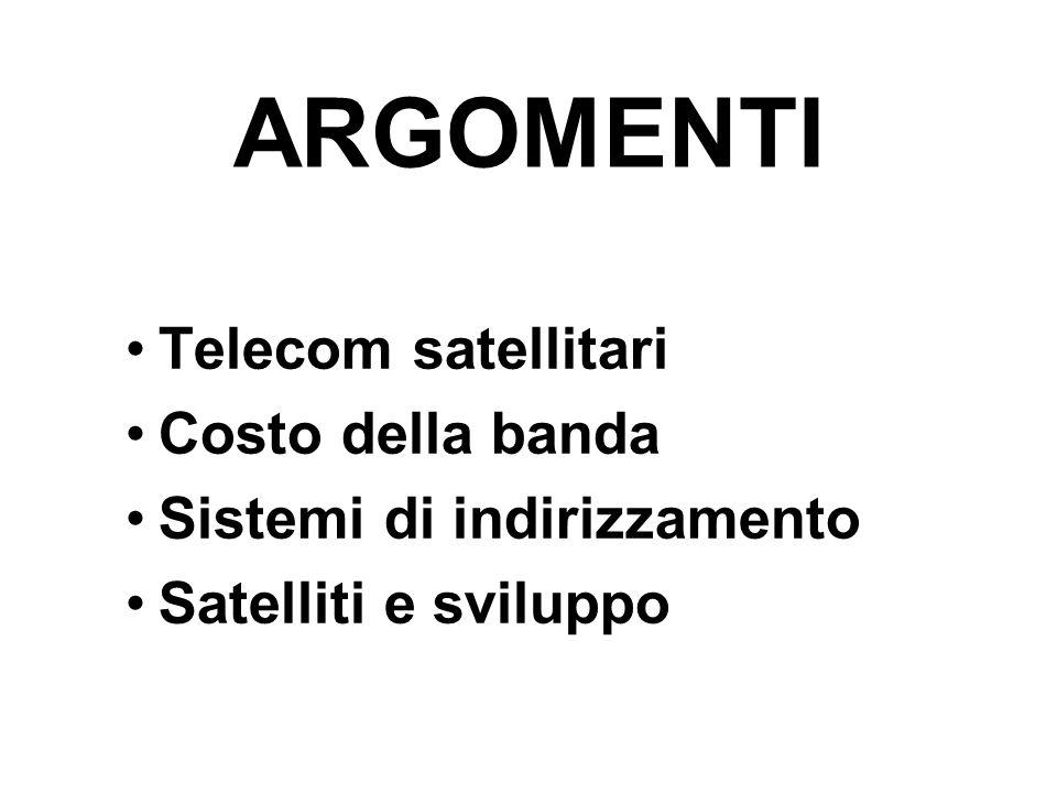 ARGOMENTI Telecom satellitari Costo della banda