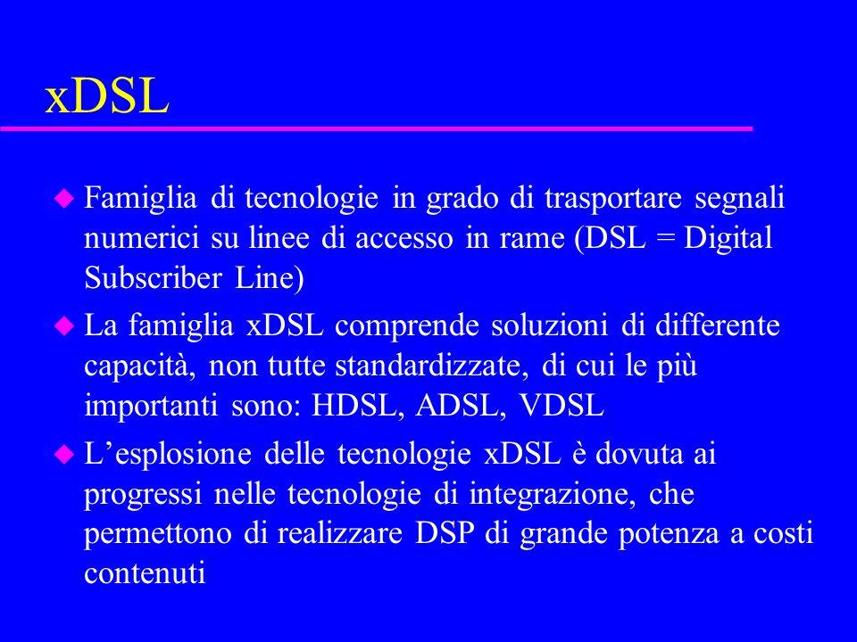 xDSL Famiglia di tecnologie in grado di trasportare segnali numerici su linee di accesso in rame (DSL = Digital Subscriber Line)