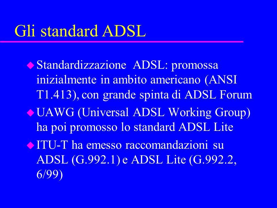 Gli standard ADSL Standardizzazione ADSL: promossa inizialmente in ambito americano (ANSI T1.413), con grande spinta di ADSL Forum.