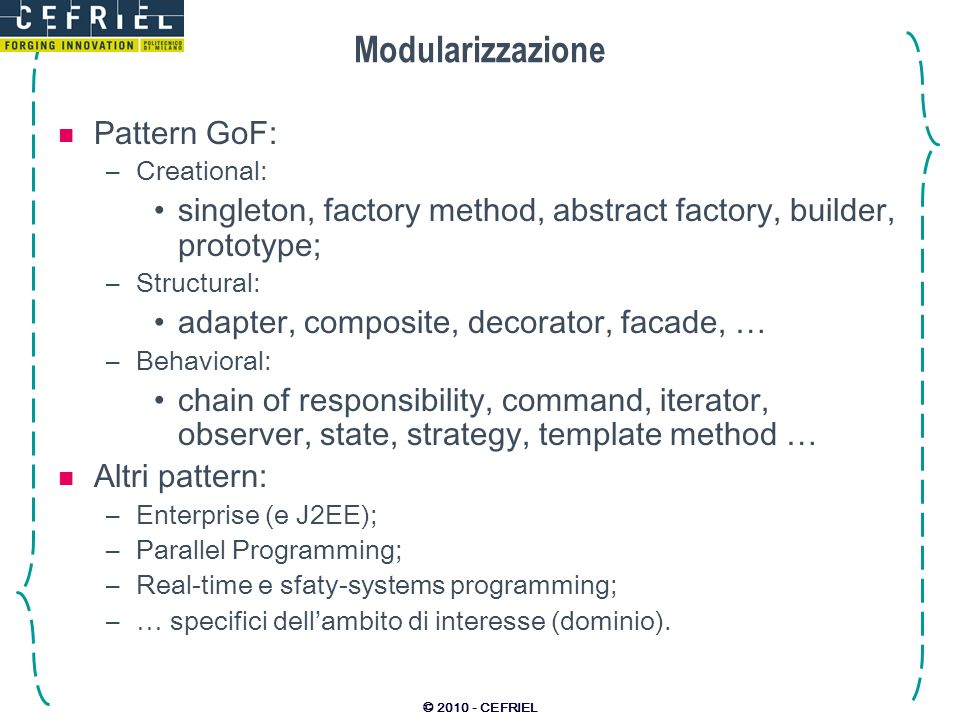Modularizzazione Pattern GoF: