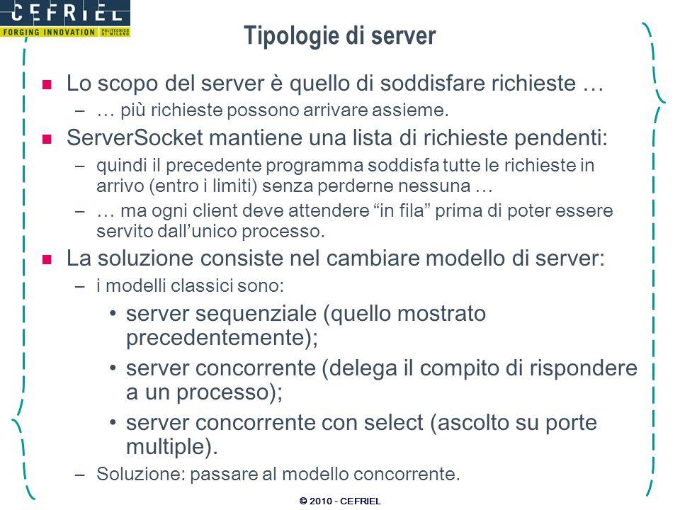 Tipologie di server Lo scopo del server è quello di soddisfare richieste … … più richieste possono arrivare assieme.
