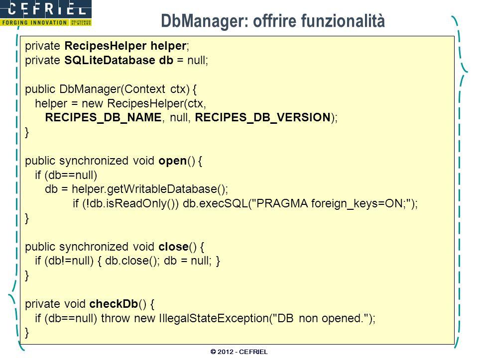 DbManager: offrire funzionalità