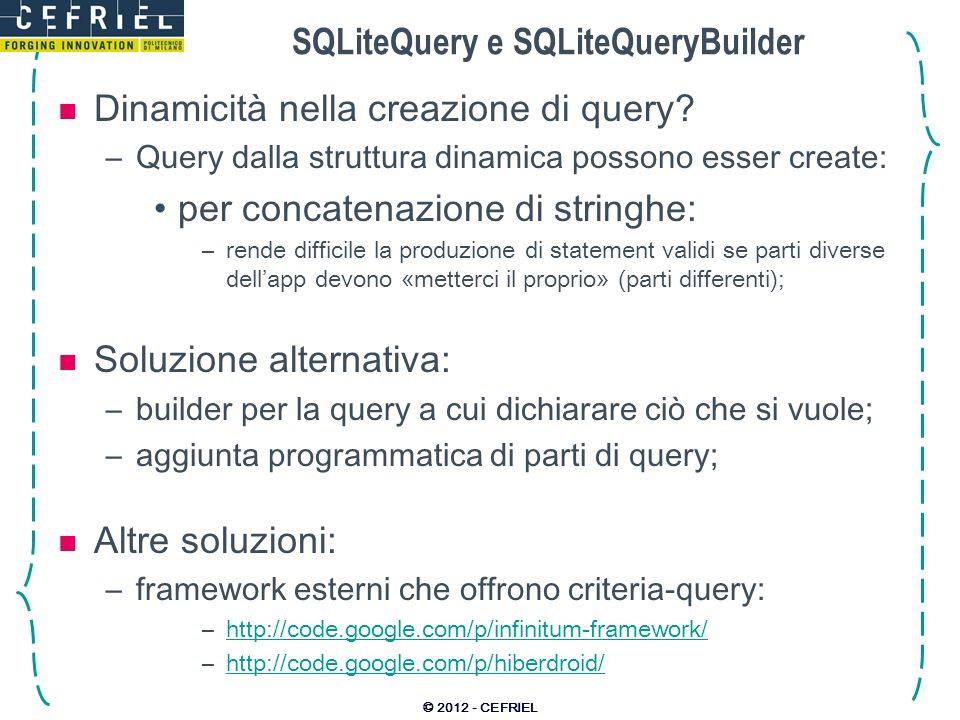 SQLiteQuery e SQLiteQueryBuilder
