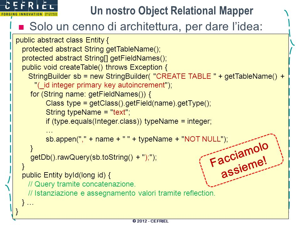Un nostro Object Relational Mapper