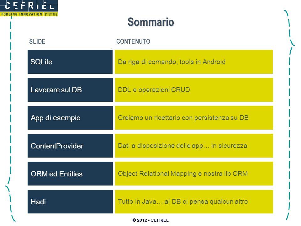 Sommario SQLite Lavorare sul DB App di esempio ContentProvider