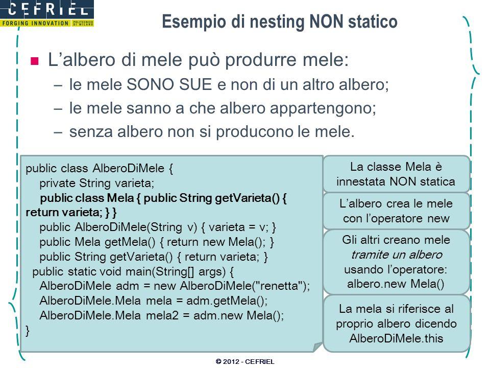 Esempio di nesting NON statico