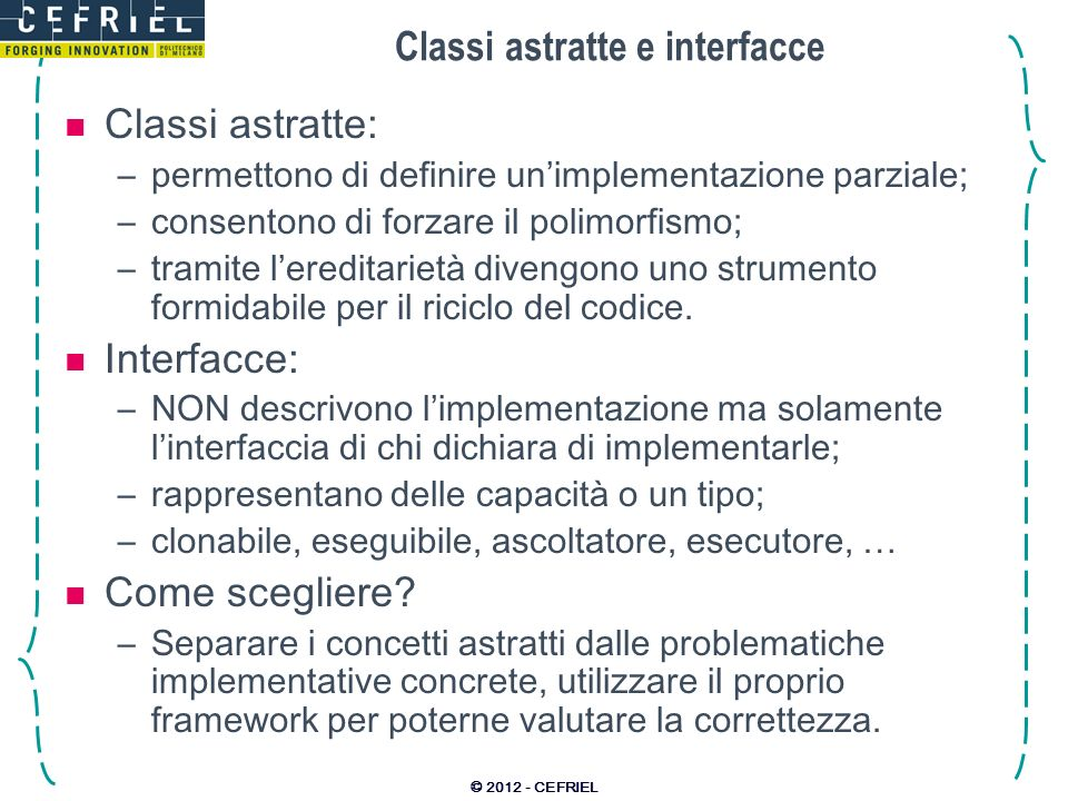 Classi astratte e interfacce
