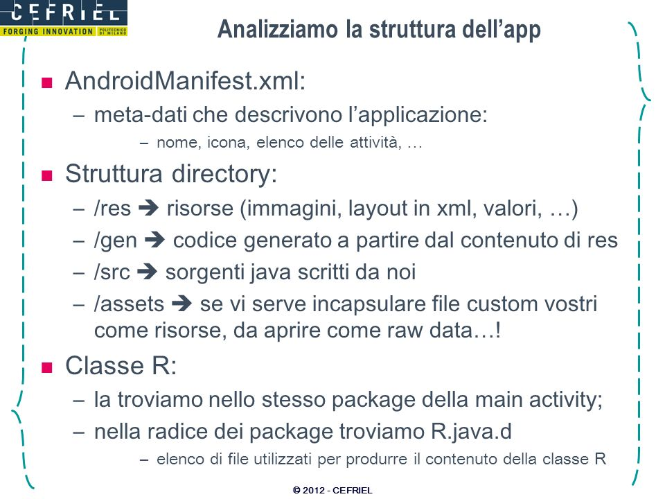 Analizziamo la struttura dell'app