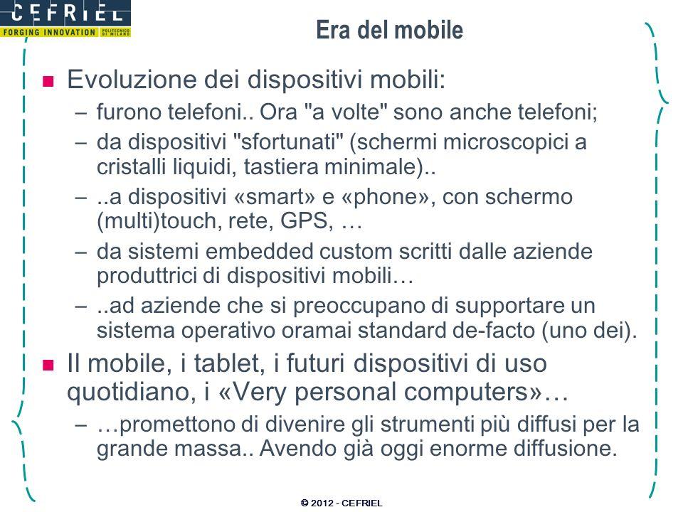 Evoluzione dei dispositivi mobili:
